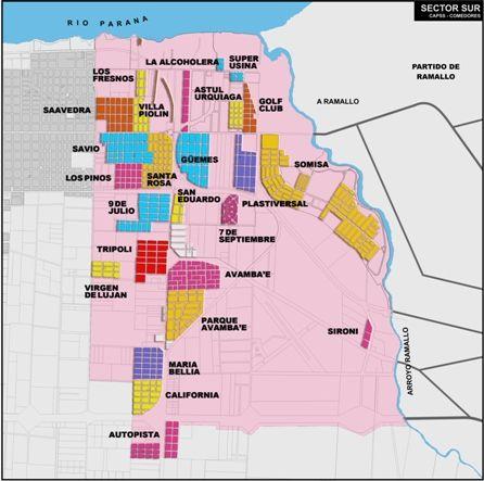 IPU - Sector Sur: planos por barrios