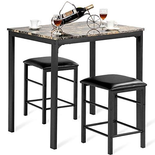 3 Pcs Modern Counter Height Dining Set Table And 2 Chairs: Alitop 3 PCS Counter Height Dining Set Faux Marble Table 2