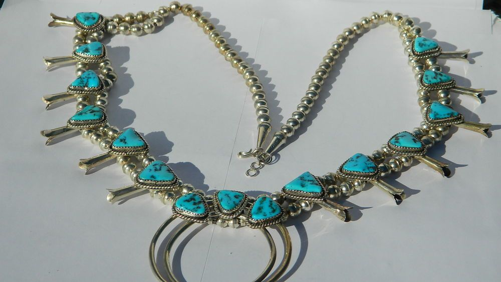 "Vintage Navajo Signed FB Sterling Silver Squash Blossom Necklace 26""X 6mm JN125 #Beaded"