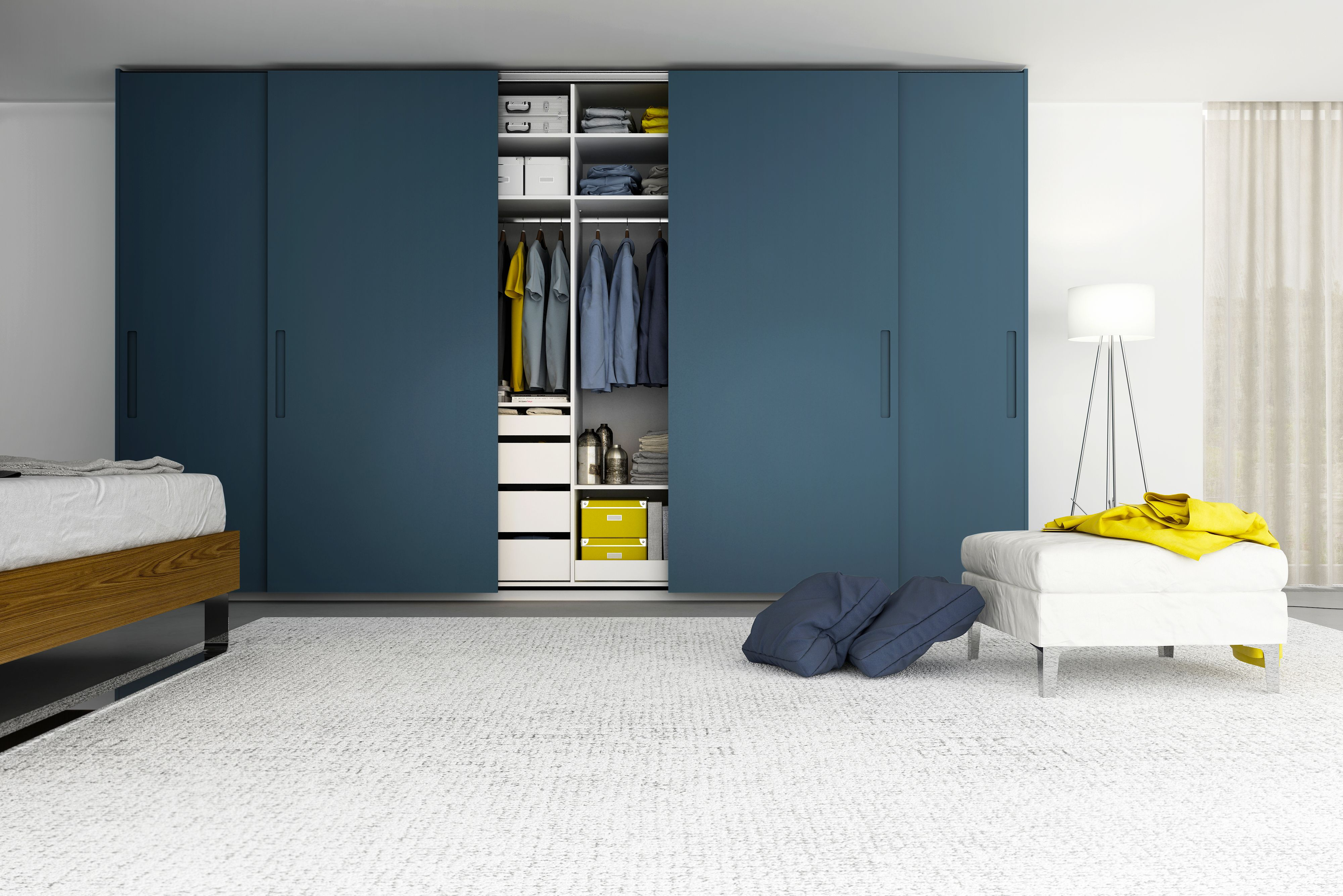 Natalia Free Standing Wardrobe With Sliding Lacquer Doors Closets