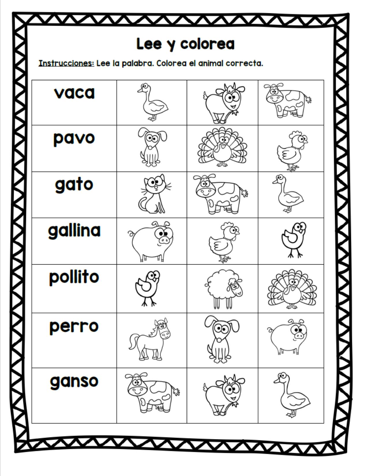 Animales De La Granja Spanish Farm Animal Literacy