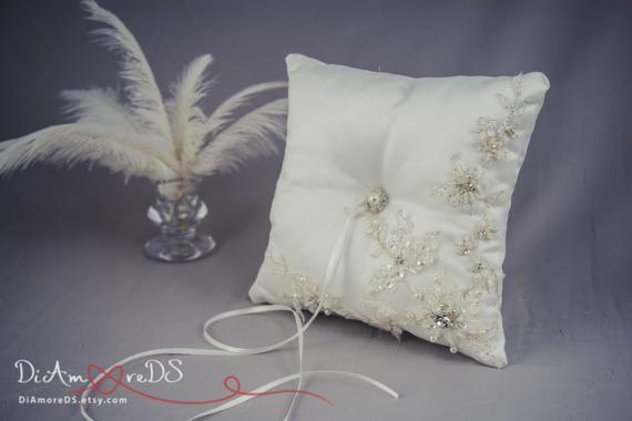 Ring Bearer Pillow Valentine Gift Silver Cushion for Rings Ivory