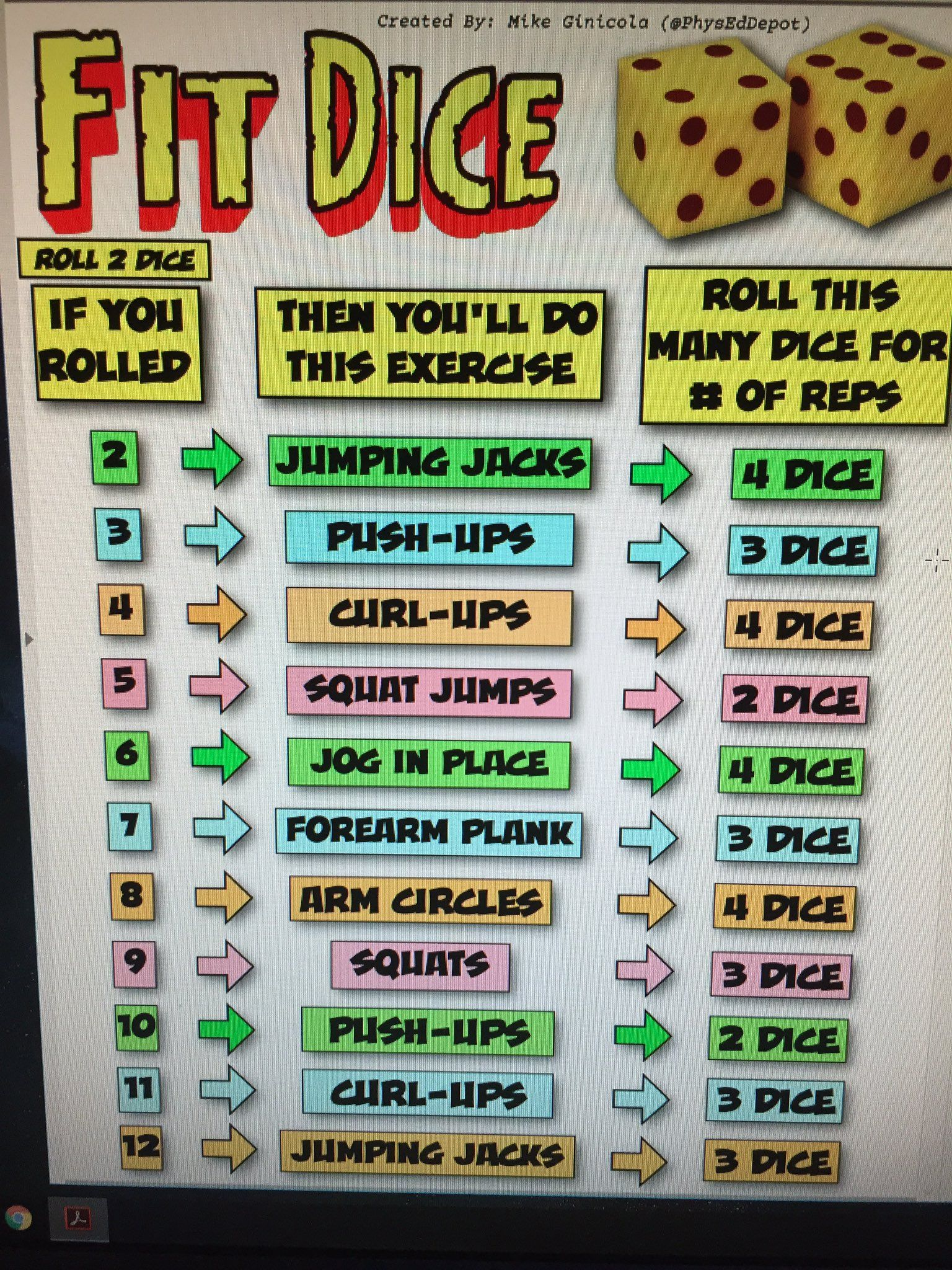 Fit Dice Pdf Physeddepot Physed Fun Games And Activities