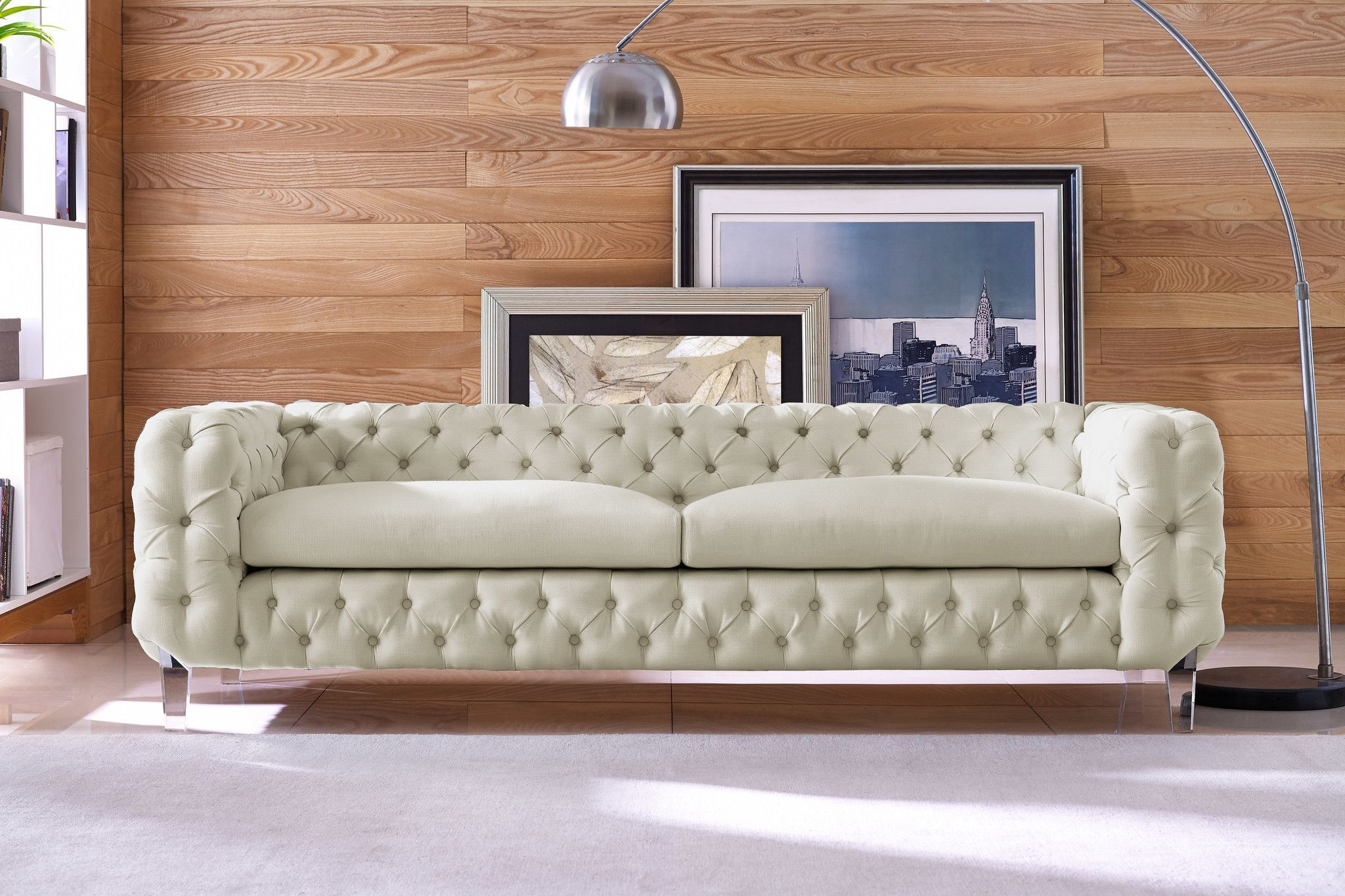 TOV Furniture Modern Celine Beige Linen Sofa TOV S78