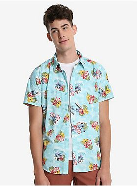 3eade9fc Disney Lilo & Stitch Hawaiian Short Sleeve Woven Button-Up in 2019 ...
