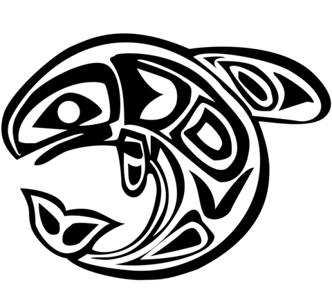 Haida Art Whale coloring page