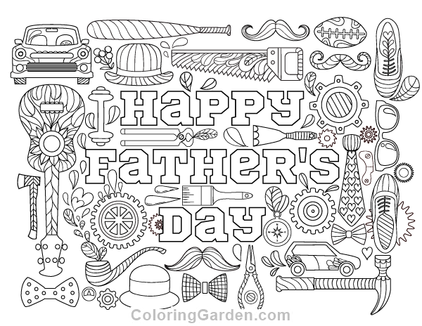 Free Printable Happy Fathers Day Adult Coloring Page Download It In PDF Format At Coloringgarden