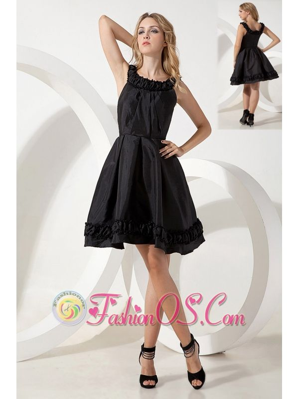 2d191e7547d63b Black A-line / Pricess Scoop Little Black Dress Mini-length Taffeta http: