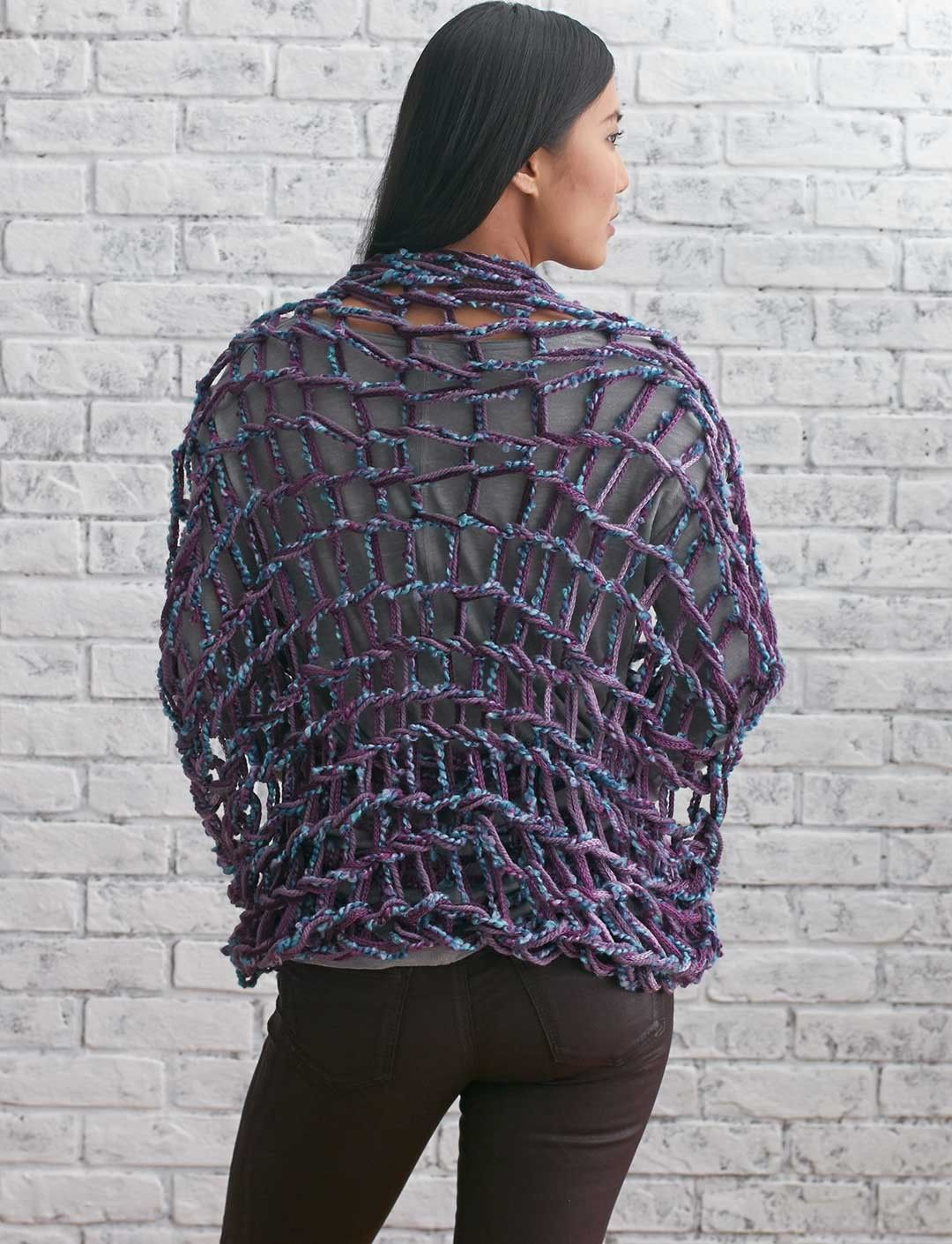 Bernat Arm Knit Shrug | Yarnspirations #armknitting #knit ...