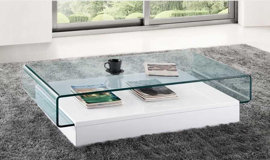 Couchtisch Weiss Glasplatte Und Ablagen Aus Mdf Fur Wohnzimmertisch