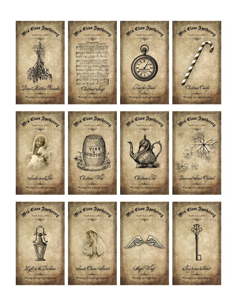 Vintage inspired 12 days of Christmas bottle apothecary labels scrapbooking