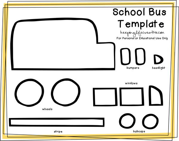 FREE Printable School Bus Craft Template Flannel boards School