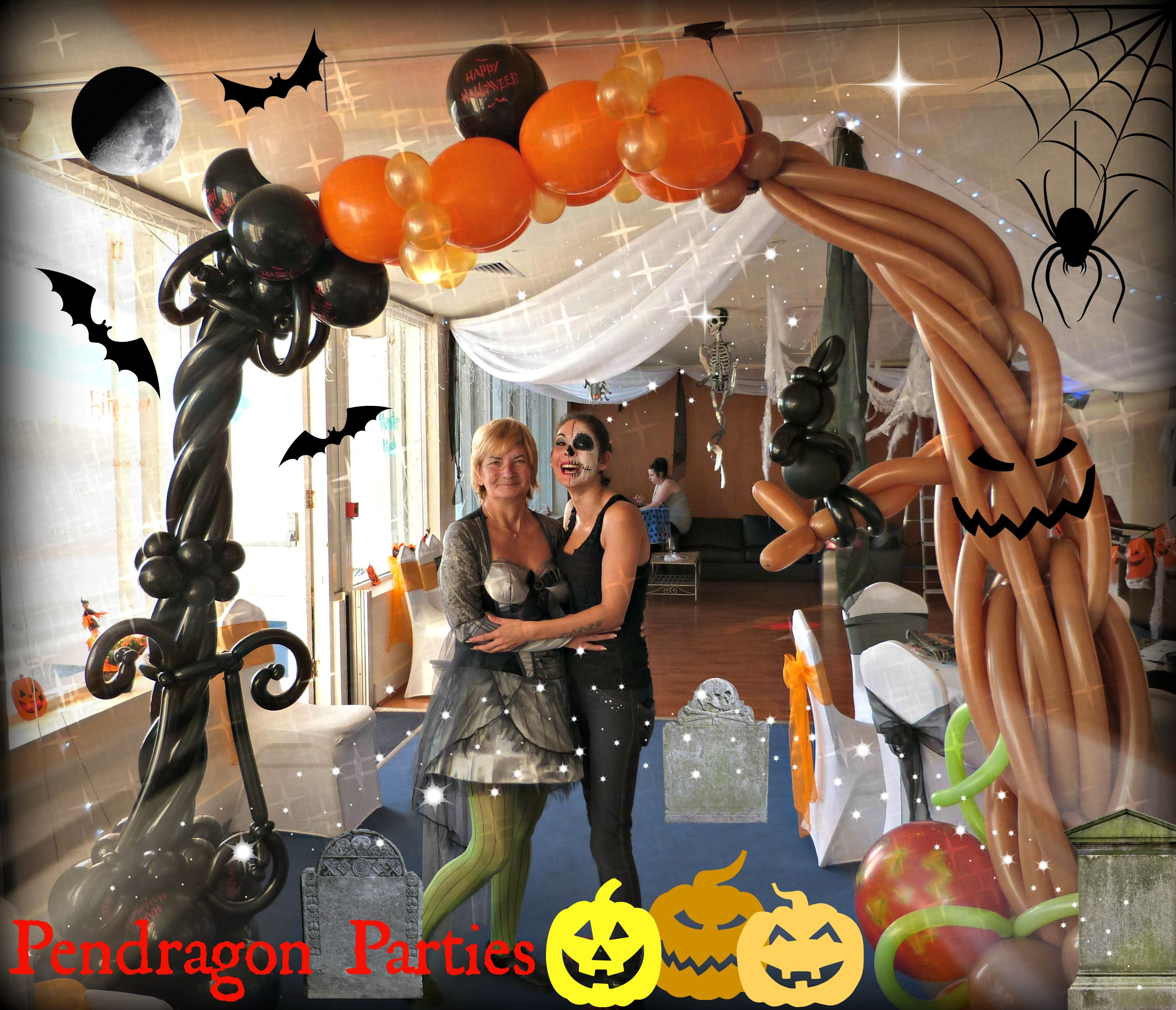 Halloween balloon arch decoration halloween drawing for Balloon decoration for halloween