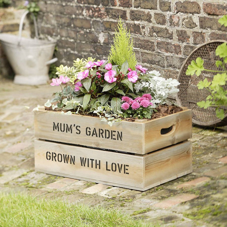 Personalised Wooden Crate Planter Garden Crates