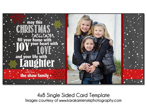 Christmas Card Template Joyful Snow 4x8 Single Sided Card Etsy Christmas Card Template Holiday Card Template Free Holiday Photo Card Templates