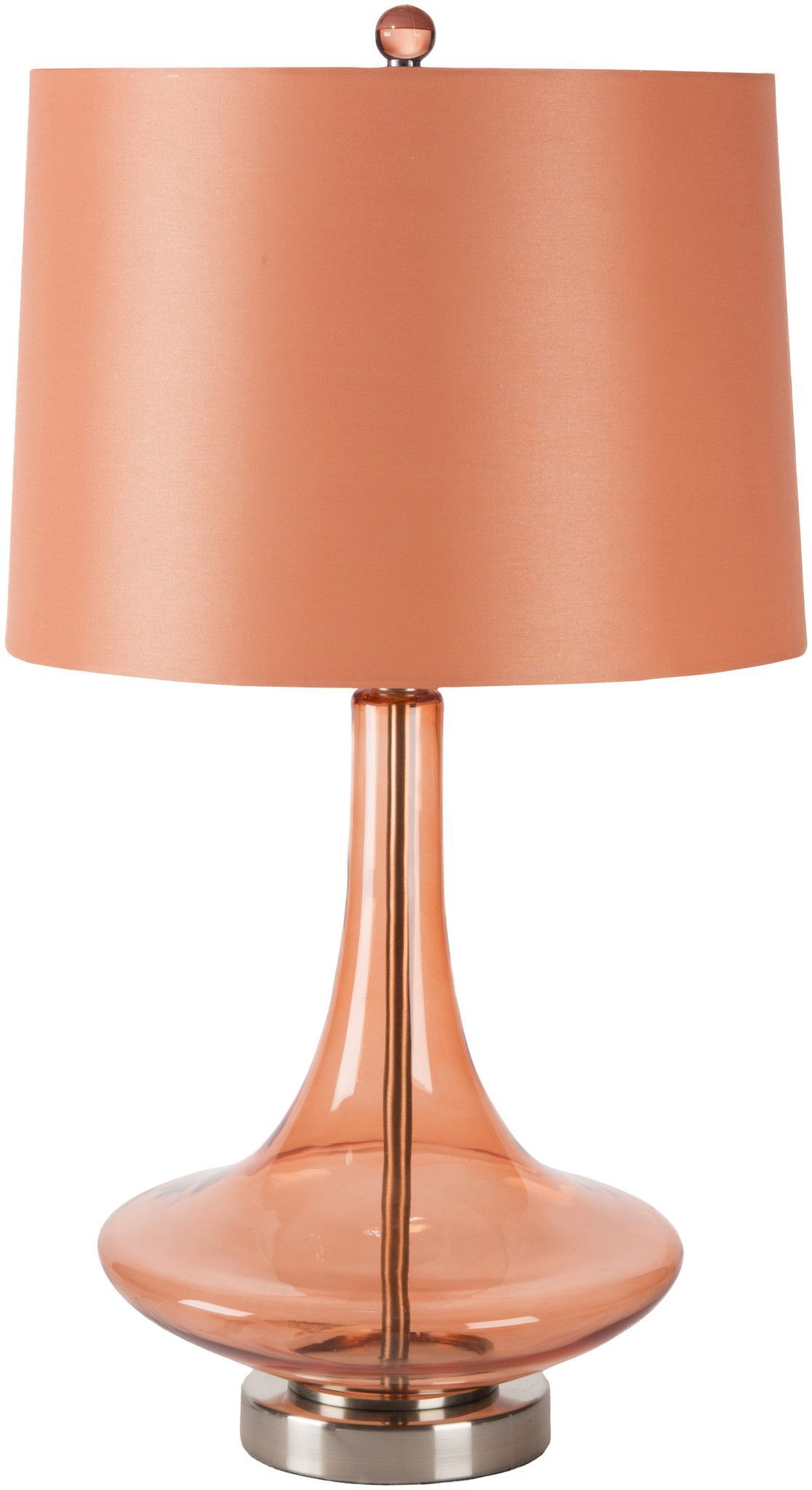Zoey modern table lamp transparent orange orange products zoe table lamp in orange joss main a colorful addition to your reading nook or bedside this stylish table lamp showcases a transparent glass base and geotapseo Image collections