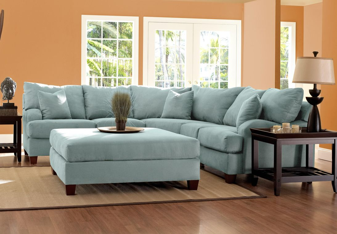 Best Blue Sectionals Klaussner Canyon Sectional Sofa In Sky Blue Microsuede Brown Sectional Sofa 640 x 480