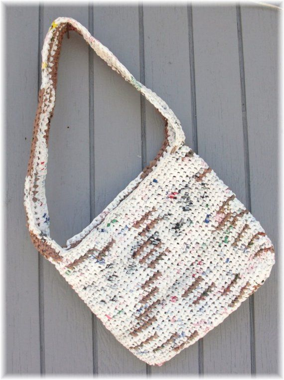 Tote made from plastic shopping bags (plarn)   Craft Ideas ...