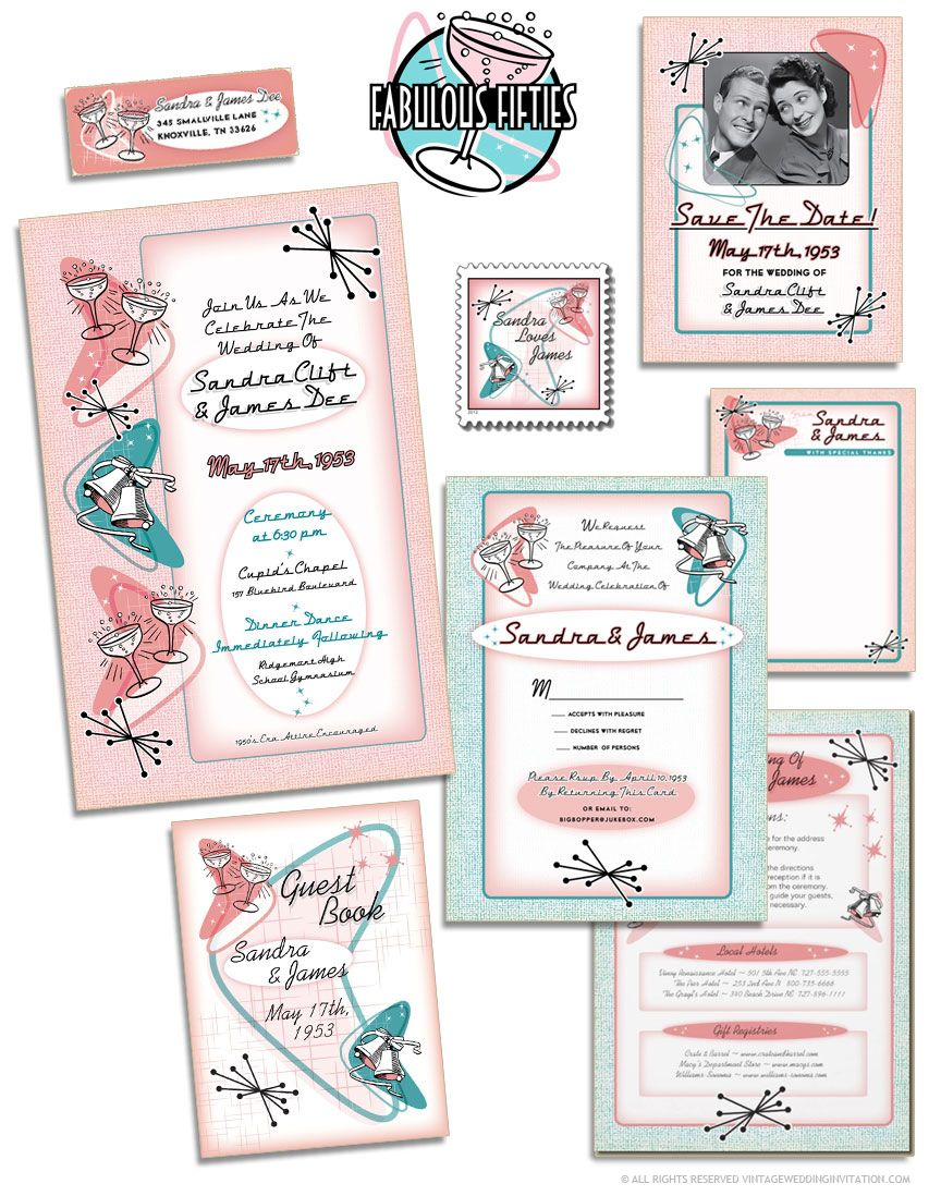 The Fabulous 1950s Wedding Invitations Suite At Vintageweddinginvitation: 1950s Formal Wedding Invitation Wording At Reisefeber.org