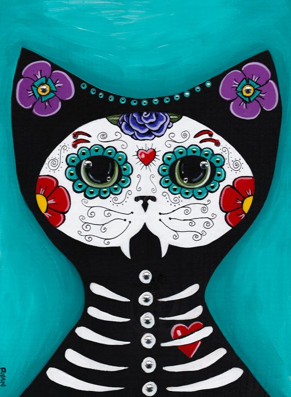 Day Of The Dead Cat Original Halloween Folk Art Painting