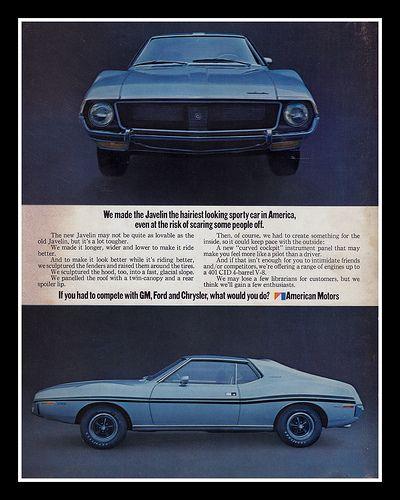 1970 AMC Javelin SST Vintage Original Print Ad American Motors Corporation
