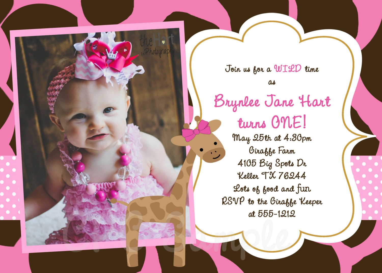 Pink Giraffe Birthday Invitation Giraffe by CutiesTieDyeBoutique ...
