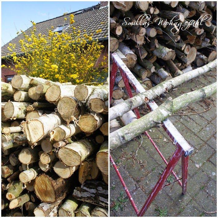 DIY: Holzleiter aus Birkenzweigen | Basteldeko mit birke ...