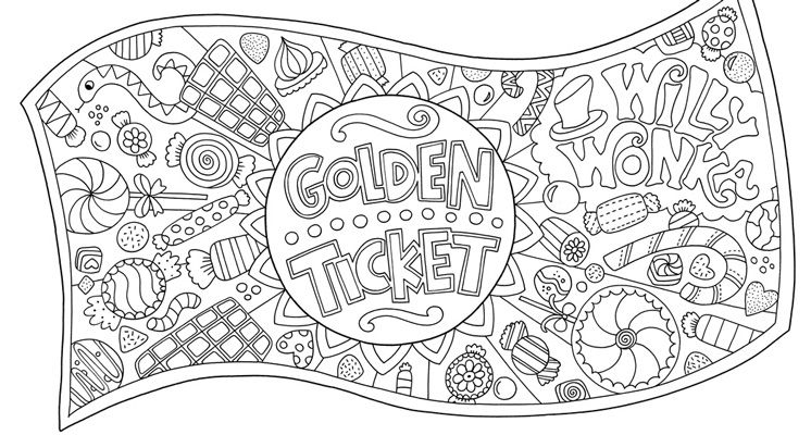 free golden ticket colouring download  chocolate factory