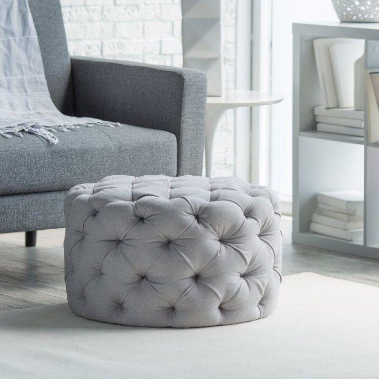 Round Tufted Ottoman Gray Footstool
