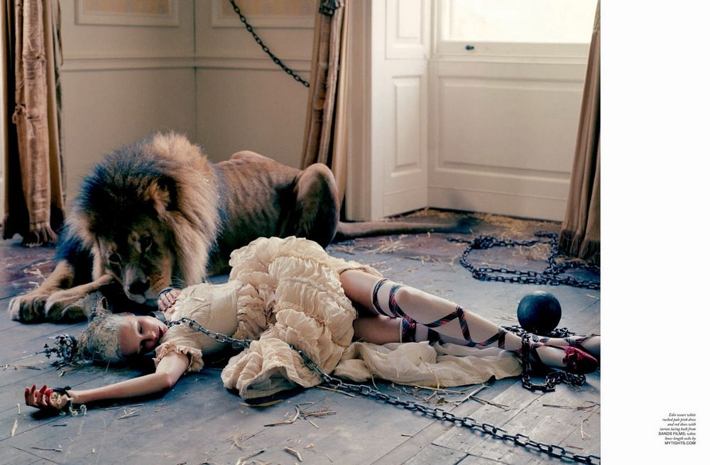 Karen Elson, Edie Campbell & Atlas the Lion by Tim Walker for LOVE Magazine 2013