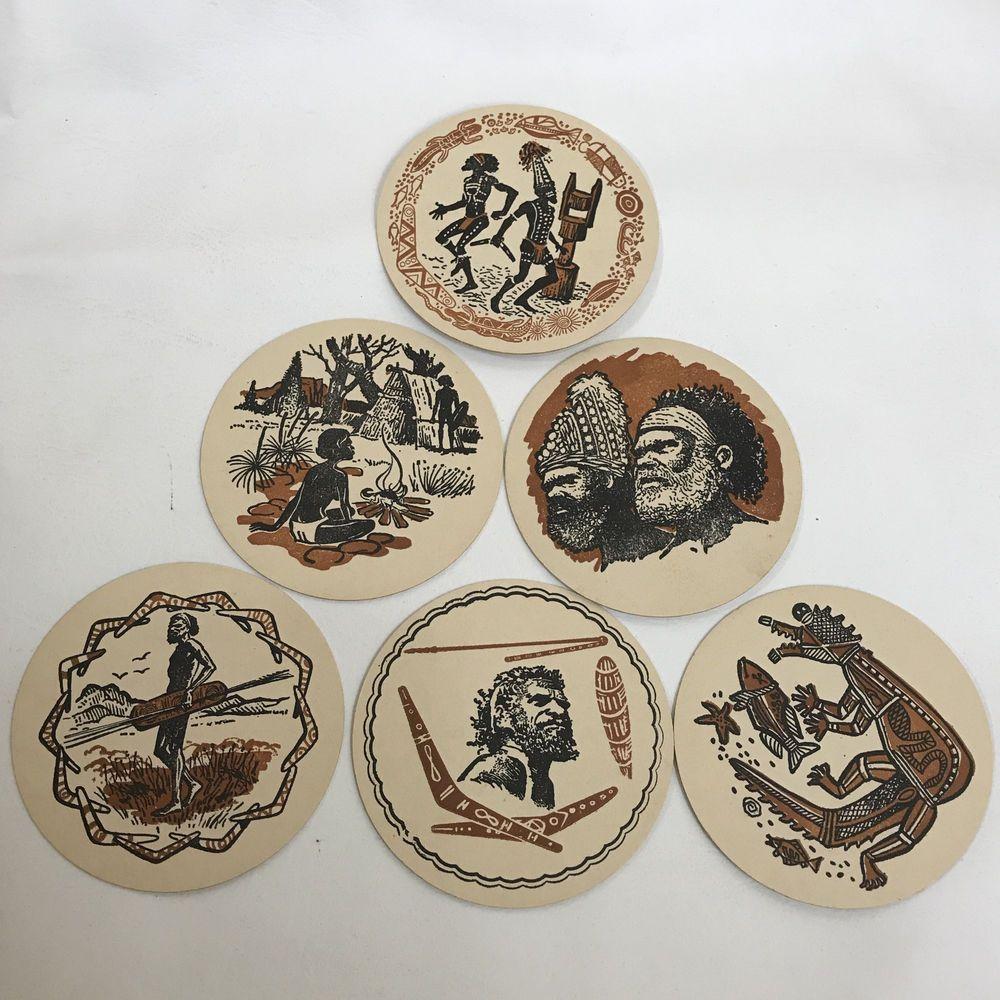 6 Vintage Australian Aboriginal Cardboard Coasters Round Cardboard Coasters Coasters Aboriginal