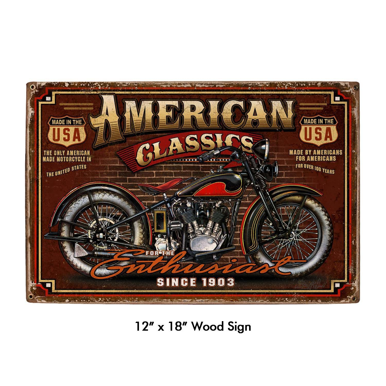 American classic motorcycle art on wood sign vintage style garage art wall decor ls257w by - American motorbike garage ...
