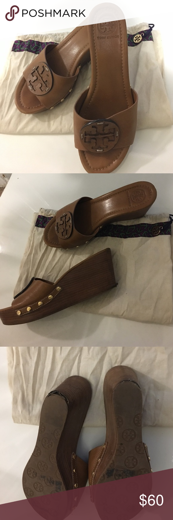 Authentic Tory Burch Patti Wedge Authentic Tory Burch Patti wedge. Brown. Size 9. No box but comes with Authentic Tory Burch dust bag. As is. Left shoe has some minor peeling by back heel - nothing a local shoe repair can't fix. Still in good condition. Lots of life left. No trades. PRICE IS FIRM. THIS IS A STEAL Tory Burch Shoes Wedges