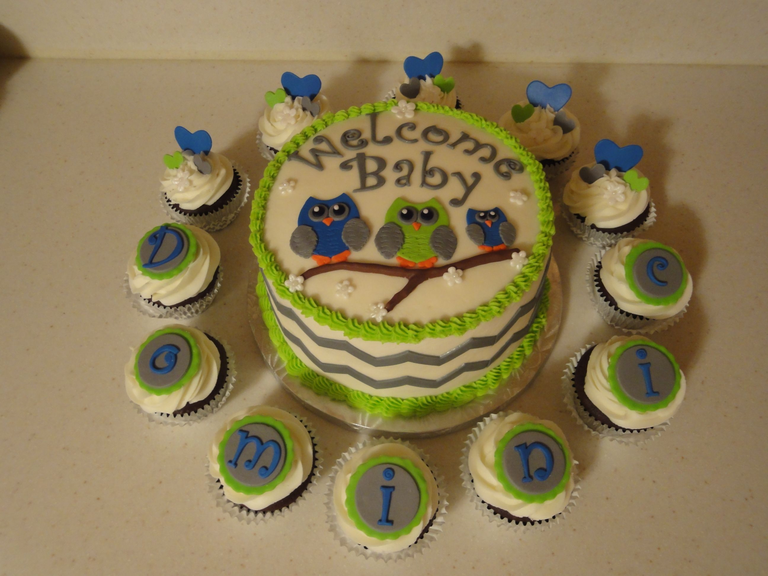 A Sweet Owl Baby Shower Cake With Coordinating Cupcakes Spelling