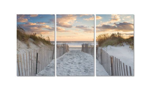 Large Beach Art 3 Three Panel Triptych Canvas Wall Art By Klgphoto