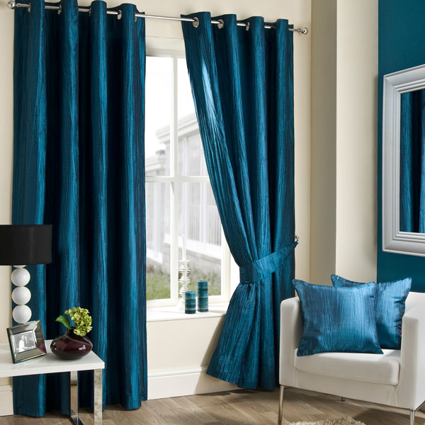 Teal Crushed Taffeta Curtain Collection