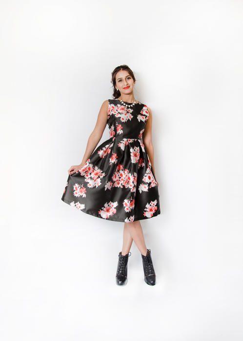 Black Satin Full Skirt Dress with Brushed Floral Print $42.99