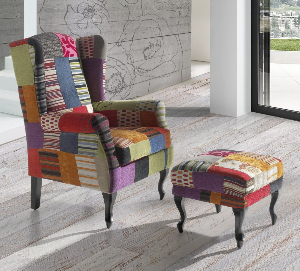 Sill n patchwork colores vicos teide decoracion for Sillones pequenos baratos