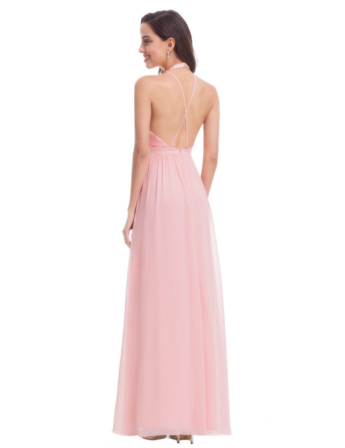 Long halter neck prom dress with deep v pinterest halter neck