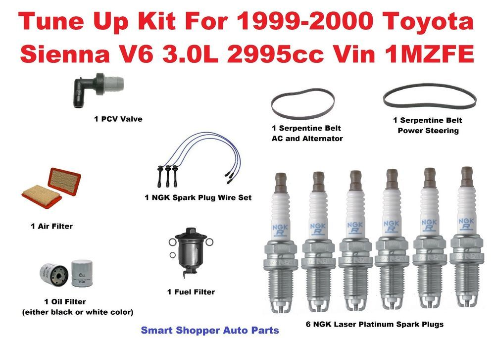 Tune Up Kit For 99 00 Toyota Sienna Pcv Valve Spark Plug Wire Set Oil Filter Bel Oil Filter Toyota Sienna Spark Plug