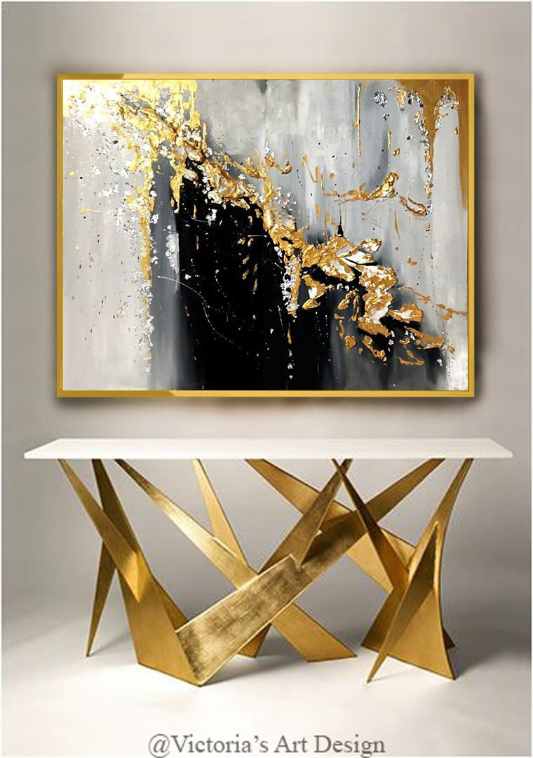 Original Oil Painting Abstract Modern On Canvas Golden Leaf Large