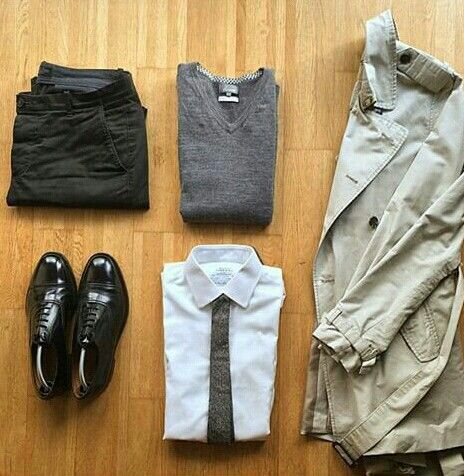 Outfit grid - Rainy walk to work