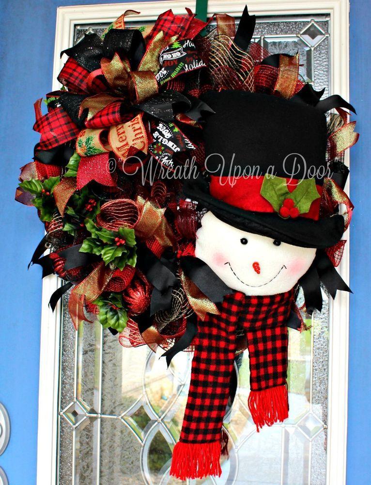 Snowman Wreath, Christmas Wreath, Plush Wreath, Fireplace Wreath