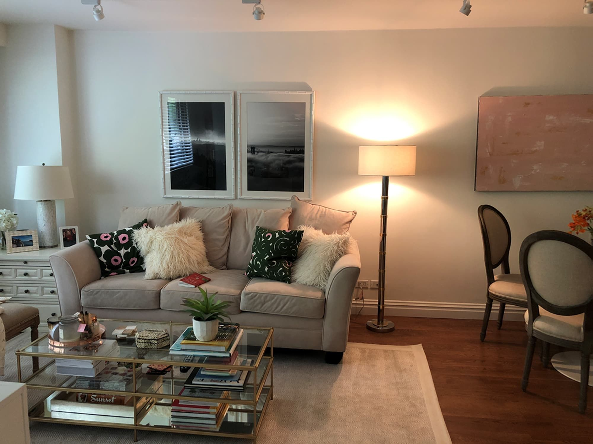 Before and after after a minimalism inspired makeover a dark dated living room is light and bright apartment therapy
