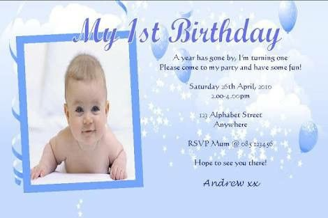 1st Birthday Invitation Wording Free Templates Card Sample 1 Year