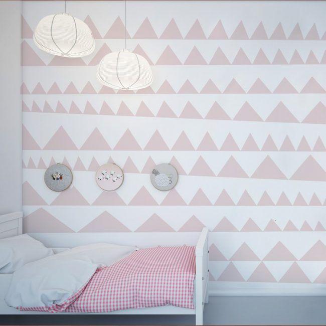 wand-streichen-muster-ideen-maedchen-dreiecke-rosa-farbe Gute - wand rosa streichen ideen