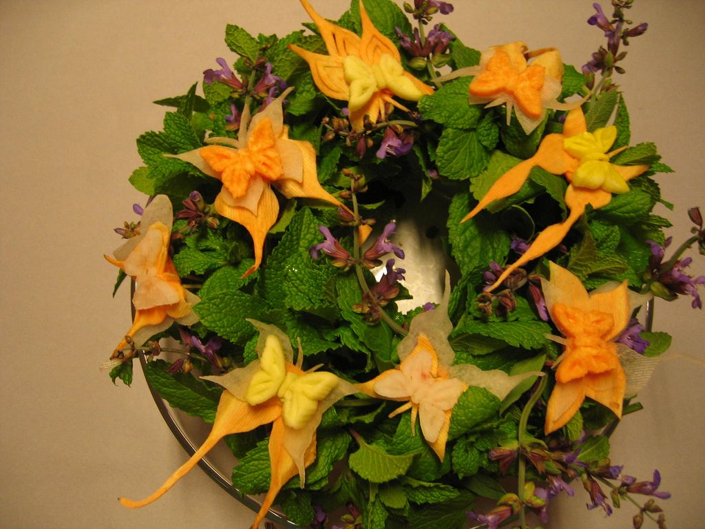 Butterflys wreath wreaths vegetable carving and carrots
