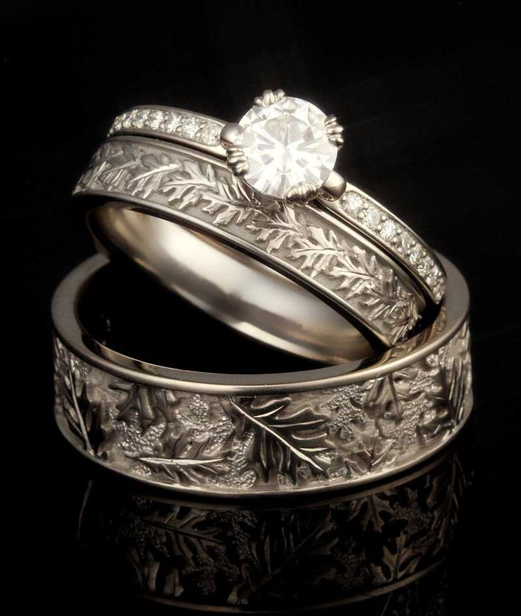 This Wedding Set Features His And Hers Oak Leaf Wedding Bands And A