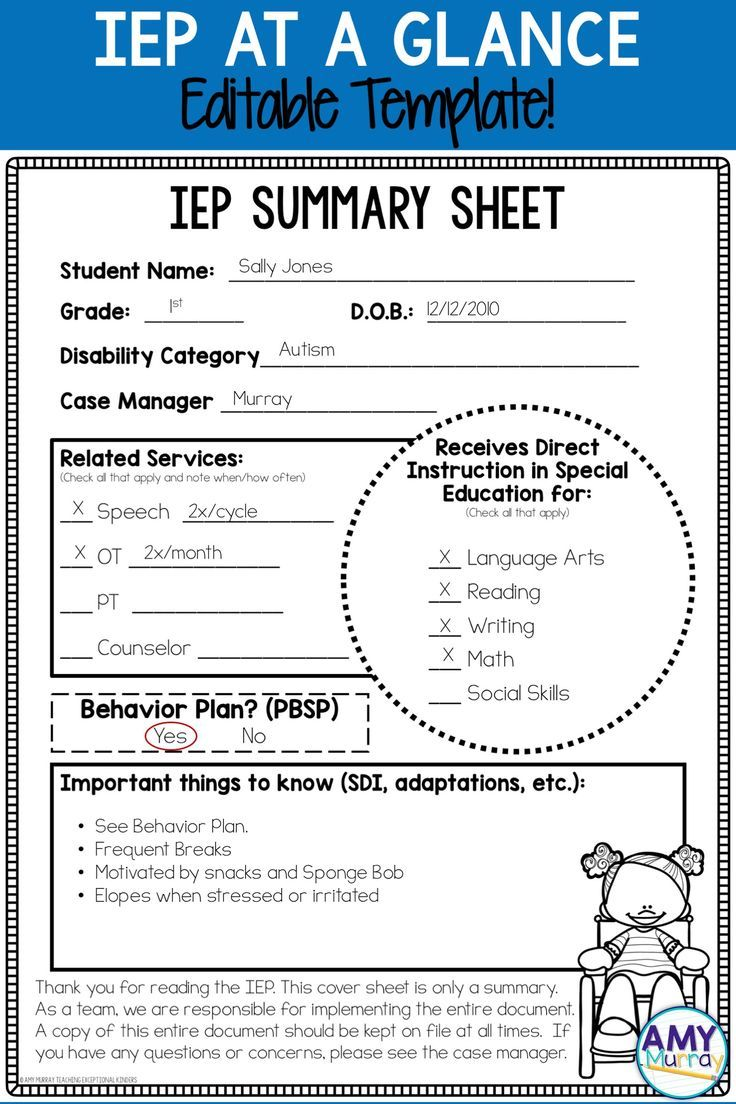 IEP Summary Sheet Editable Templates | Resource room, Classroom ...