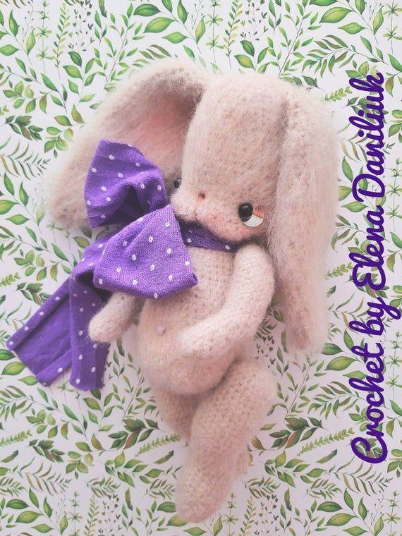 Stuffed bunny, crochet rabbit, bunny plush, felt bunny, knit bunny, bunny doll, knitted toy, amigurumi animal, soft bunny, art doll animal #bunnyplush